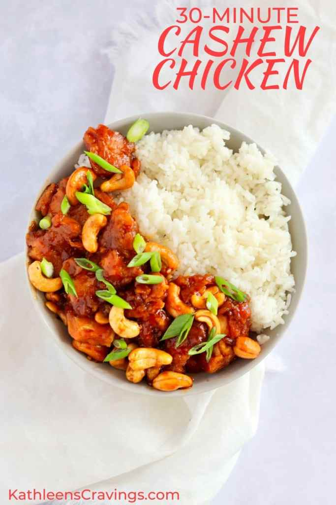 Cashew chicken with white rice in a bowl and text overlay