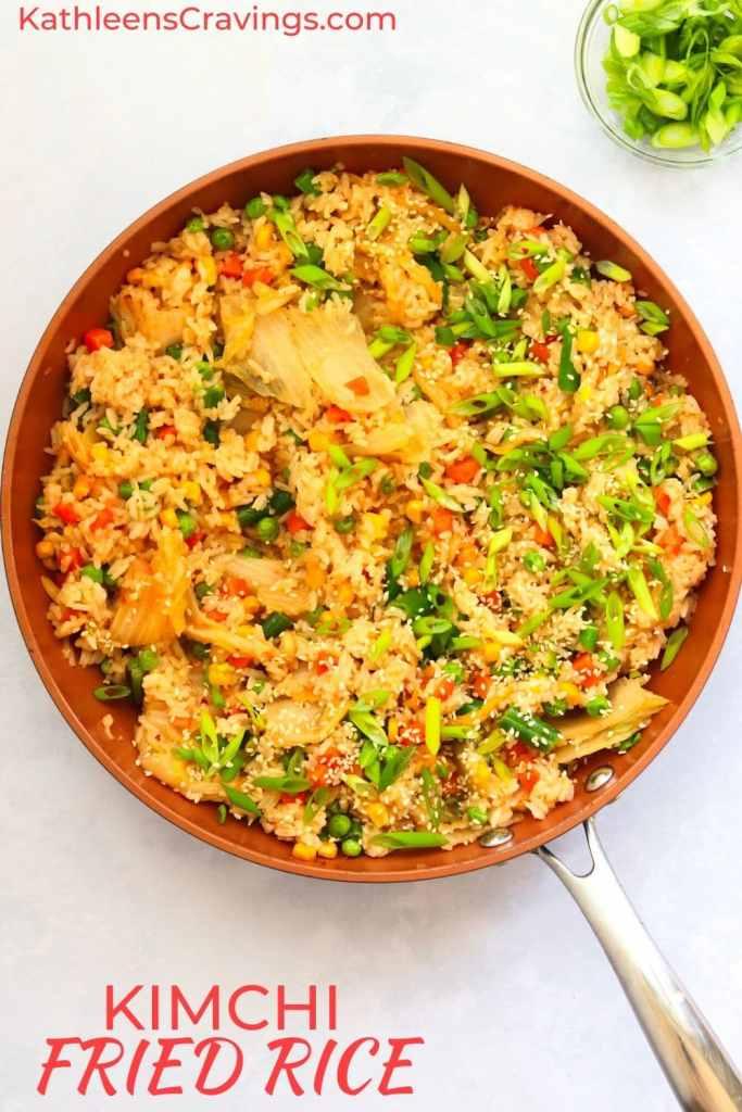 Kimchi fried rice in skillet