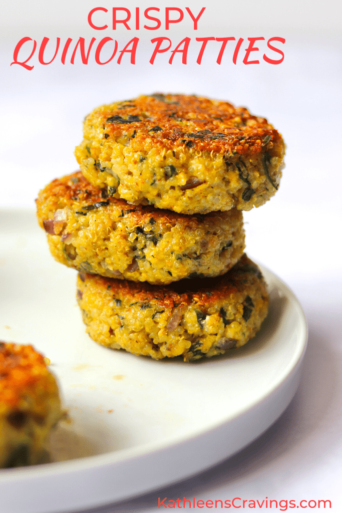 Crispy Quinoa Patties stacked on a plate with text overlay
