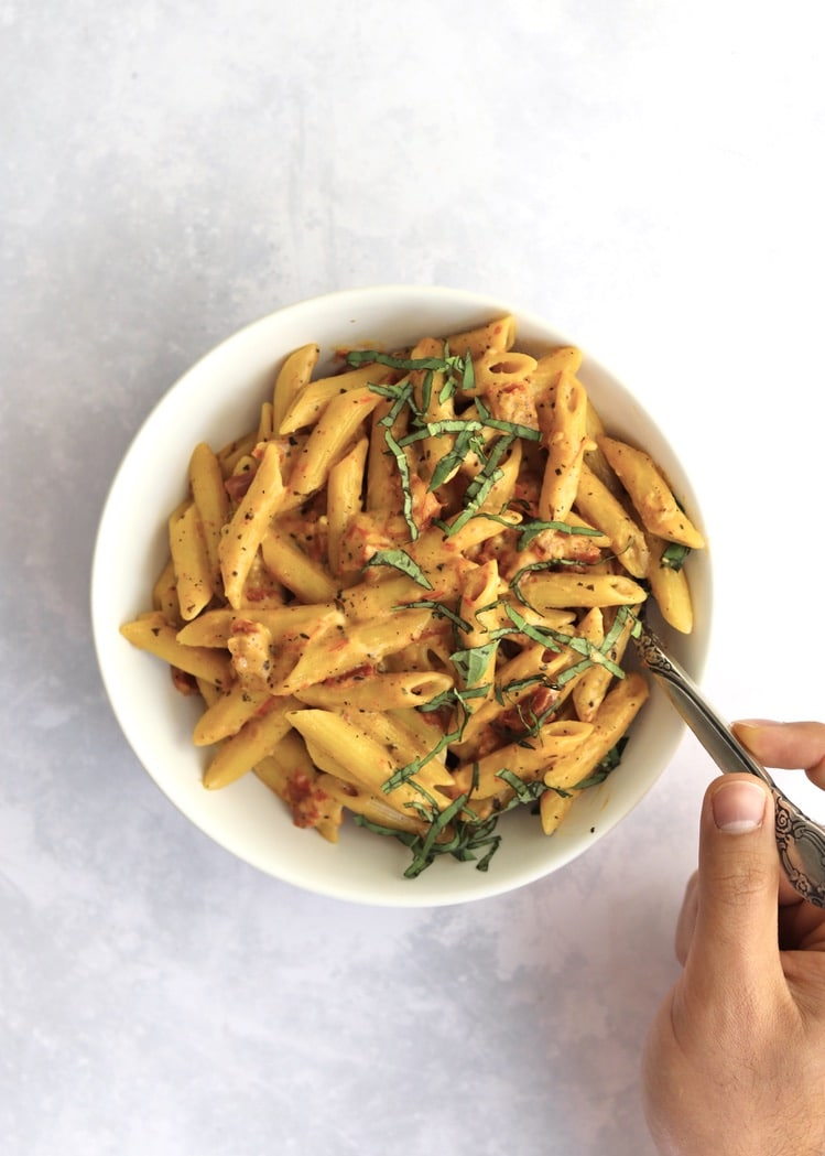 One-Pot Creamy Sun Dried Tomato Pasta