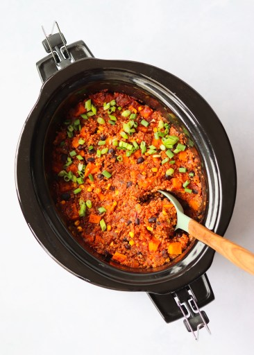 Slow Cooker Mexican Quinoa with serving spoon
