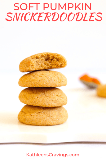 Stack of pumpkin snickerdoodle cookies with text overlay