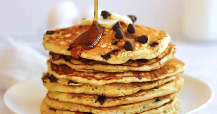 Extra Fluffy Chocolate Chip Pancakes