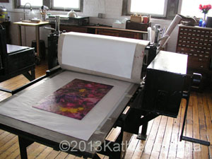 Plate positioned on the press bed