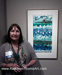 photo of Kathleen Thoma at Transferring Ink 3 show opening