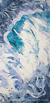 Kathleen Thoma, Winter's Grace, monotype, 12x24 inches