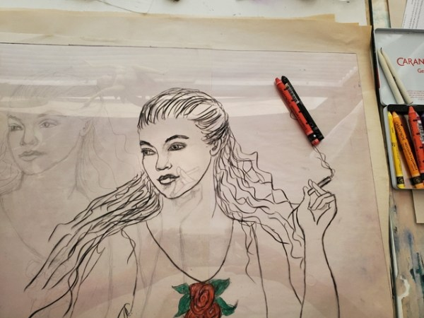 Image of process in creating my part of an Exquisite Corpse, with the Los Angeles Printmaking Society