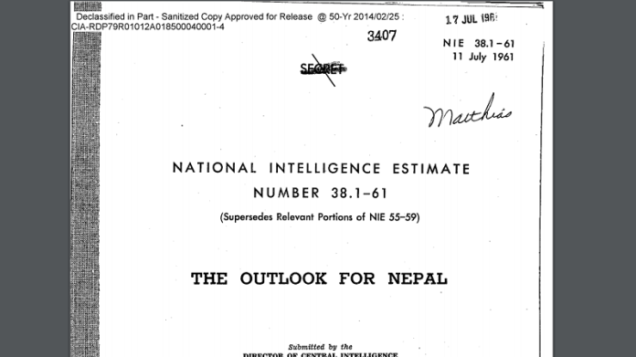 CIA feared India could attack Nepal militarily prior to 1962 Sino-Indian war