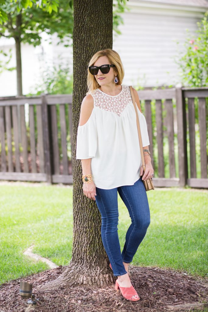 White Crochet Cold Shoulder Blouse from Make Me Chic