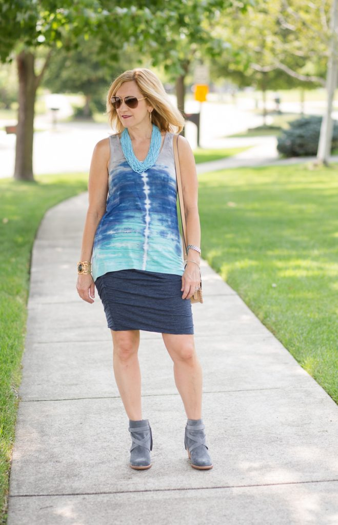 Blue Tie Dye Tank with blue cotton skirt