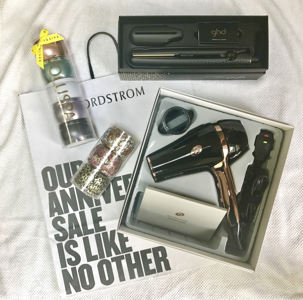 T3 Featherweight Hair Dryer, ghd gold flat iron, and Voluspa candles sets from Nordstrom Anniversary Sale 2017