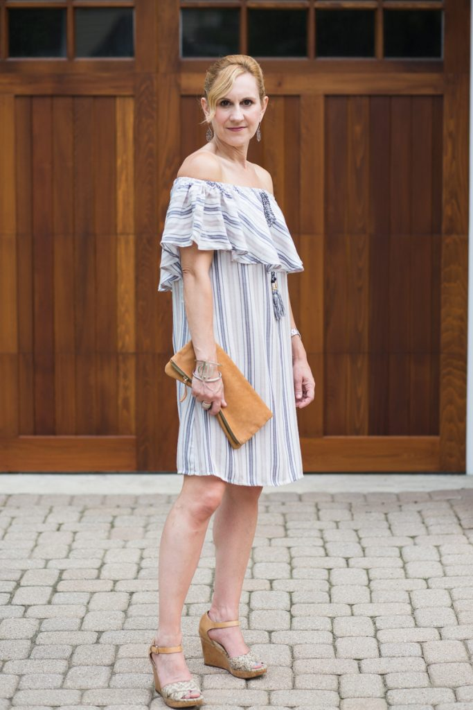 Venus Striped Off the Shoulder Dress