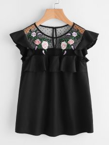 Make Me Chic Flower Patched Mesh Cap Sleeve Top