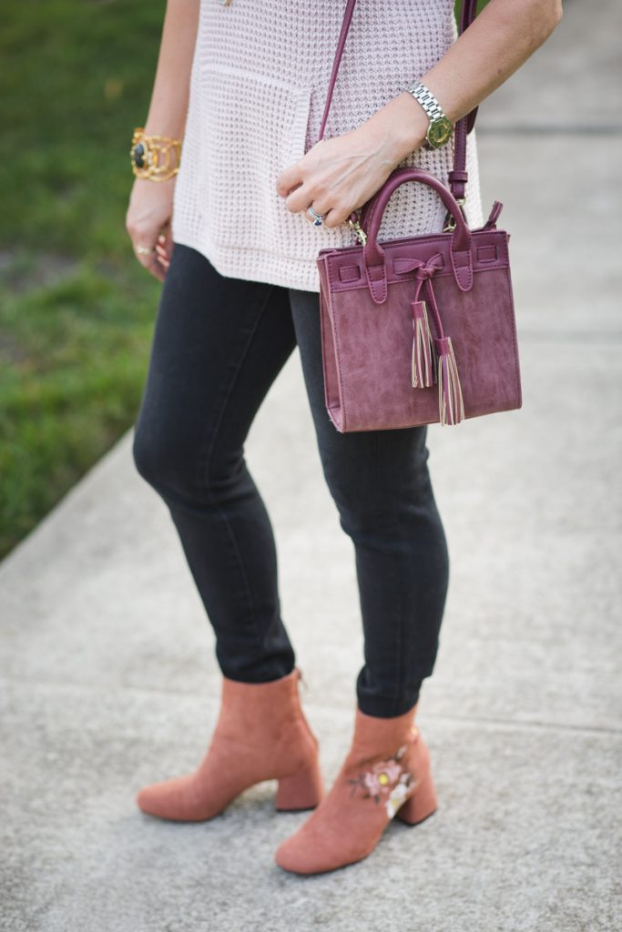 Sole Society Mini Bag with Embroidered Booties