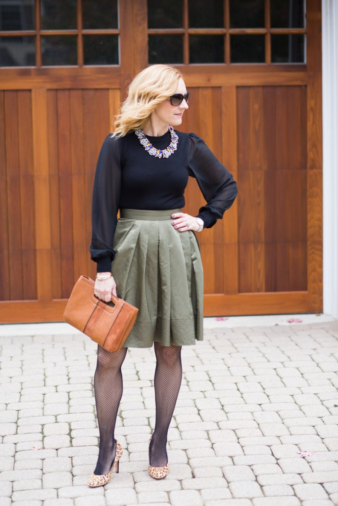 Styling a green skirt and sheer long sleeved blouse for a dressy Thanksgiving look