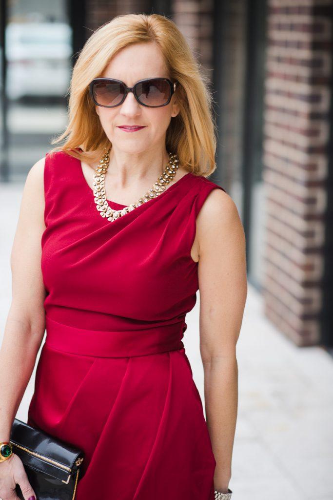 Red Draped Pencil Dress from Closet Llondon