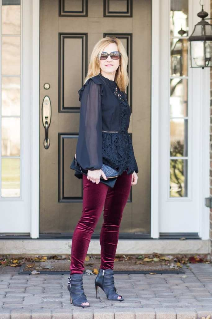 Holiday Style featuring a Peplum Top and Velvet Leggings