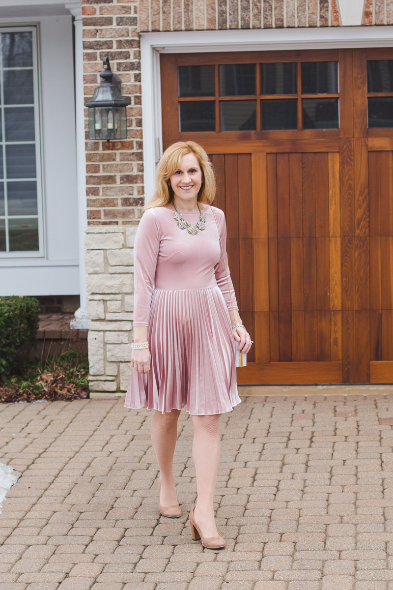 Pink Velvet Fit and Flare Dress with Pleats