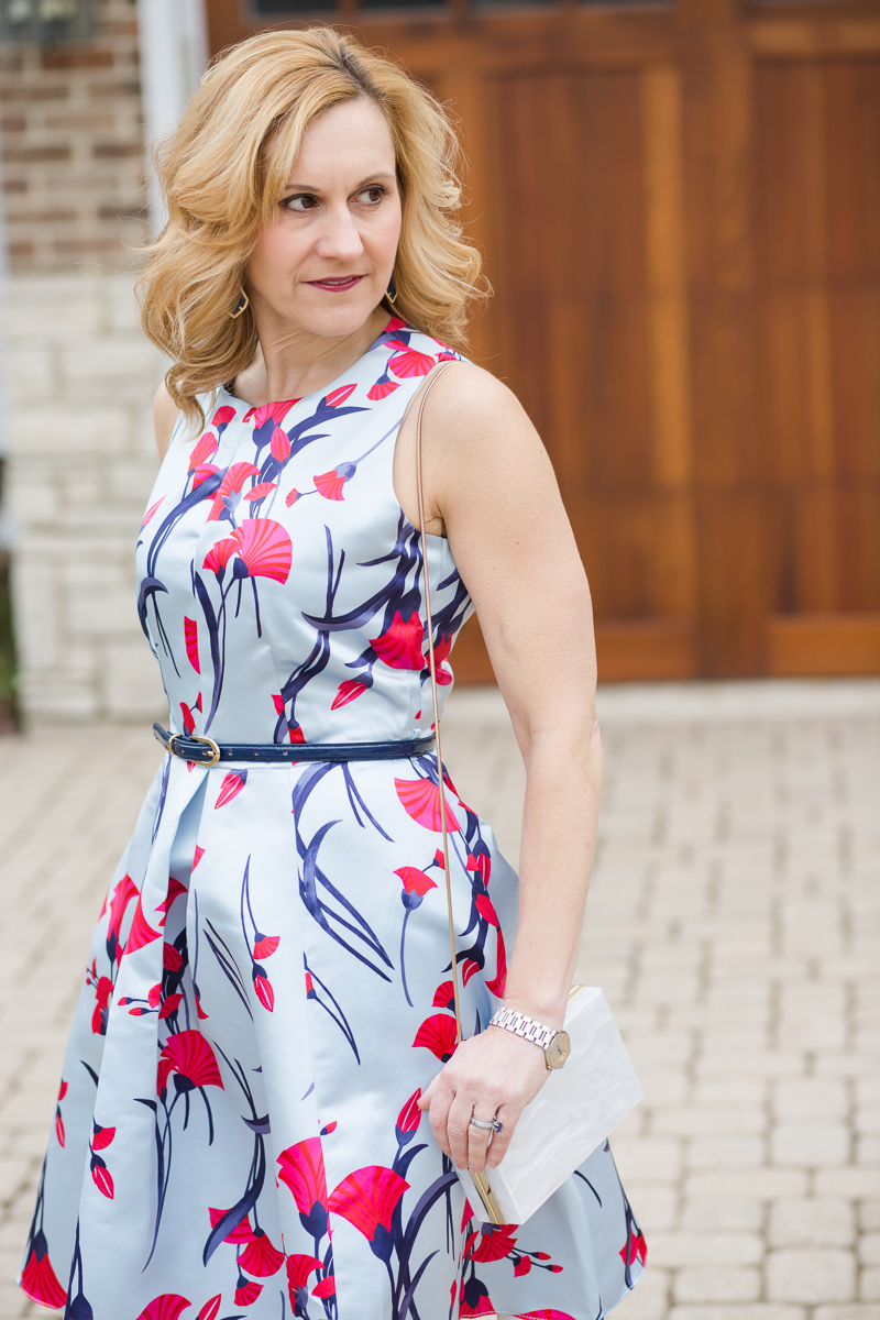 Blue and Red Japanese Inspired Floral Dress by Closet London