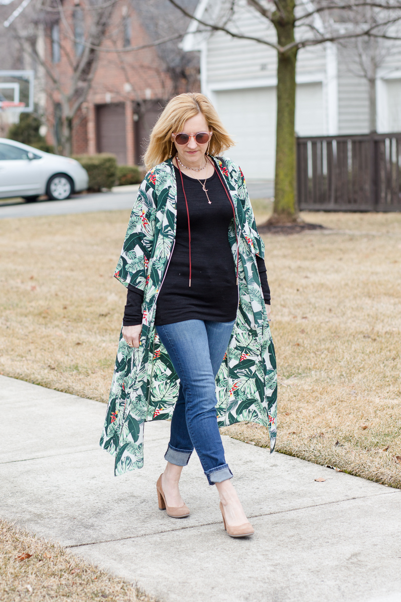 Styling a Palm Print Duster in cooler weather