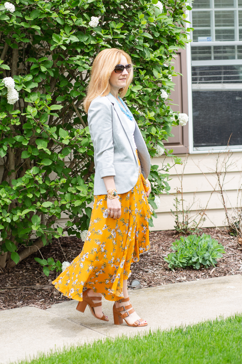 Workwear look featuring a Floral Maxi Skirt and Blazer