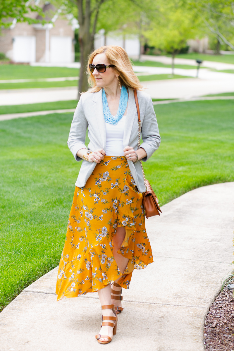 Workwear Look from Day to Night featuring a Flora Maxi Skirt.