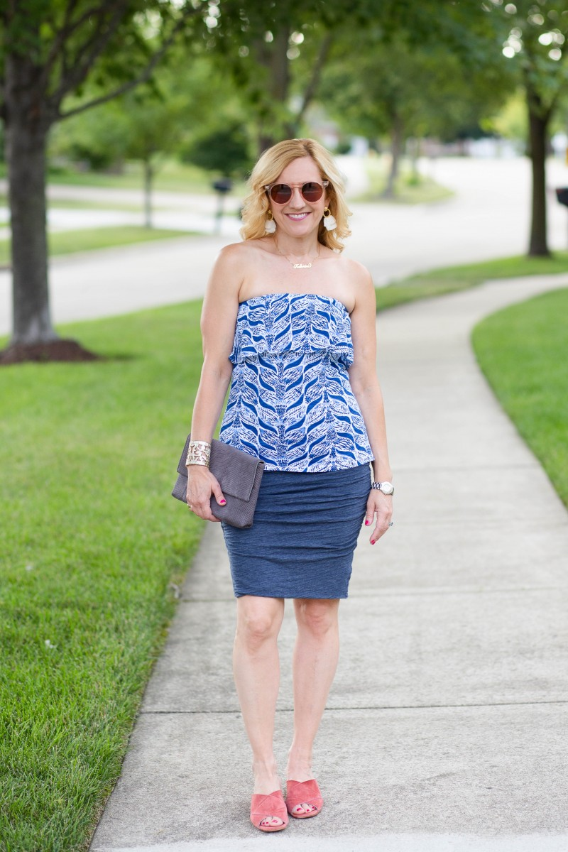A casual chic summer look featuring a blue color palette.