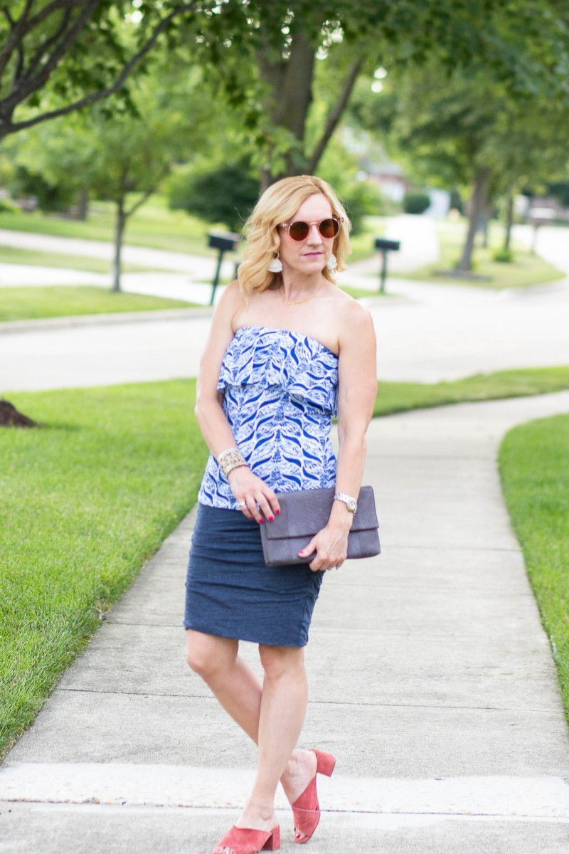 The Summer Blues featuring a blue-printed tube top and a blue skirt.