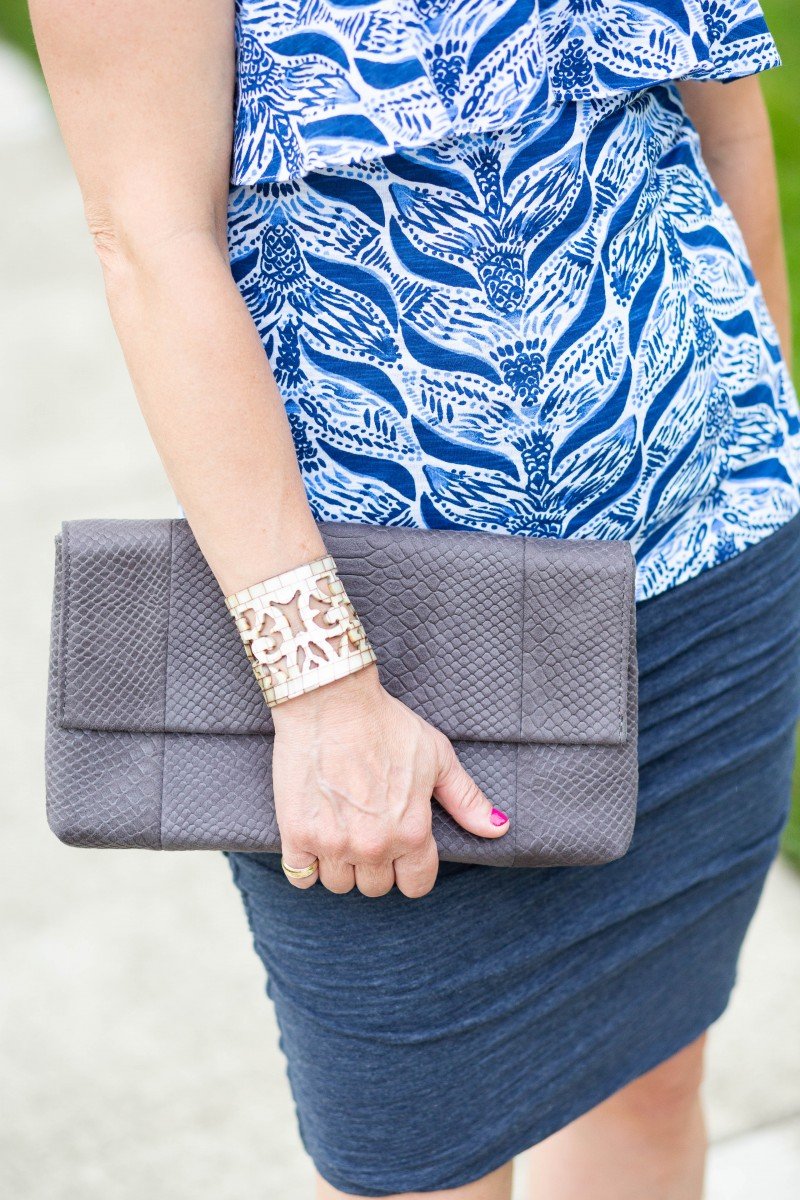 Blue Printed Tube Top with a Snakeskin Clutch and Cut Out Cuff