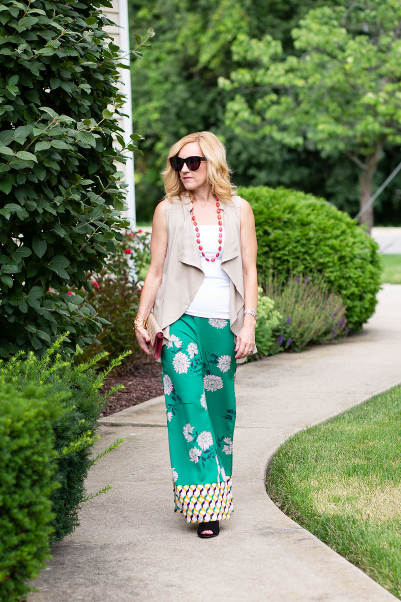 Summer Look featuring a BB Dakota Draped Vest and Forever 21 Floral Palazzo Pants.