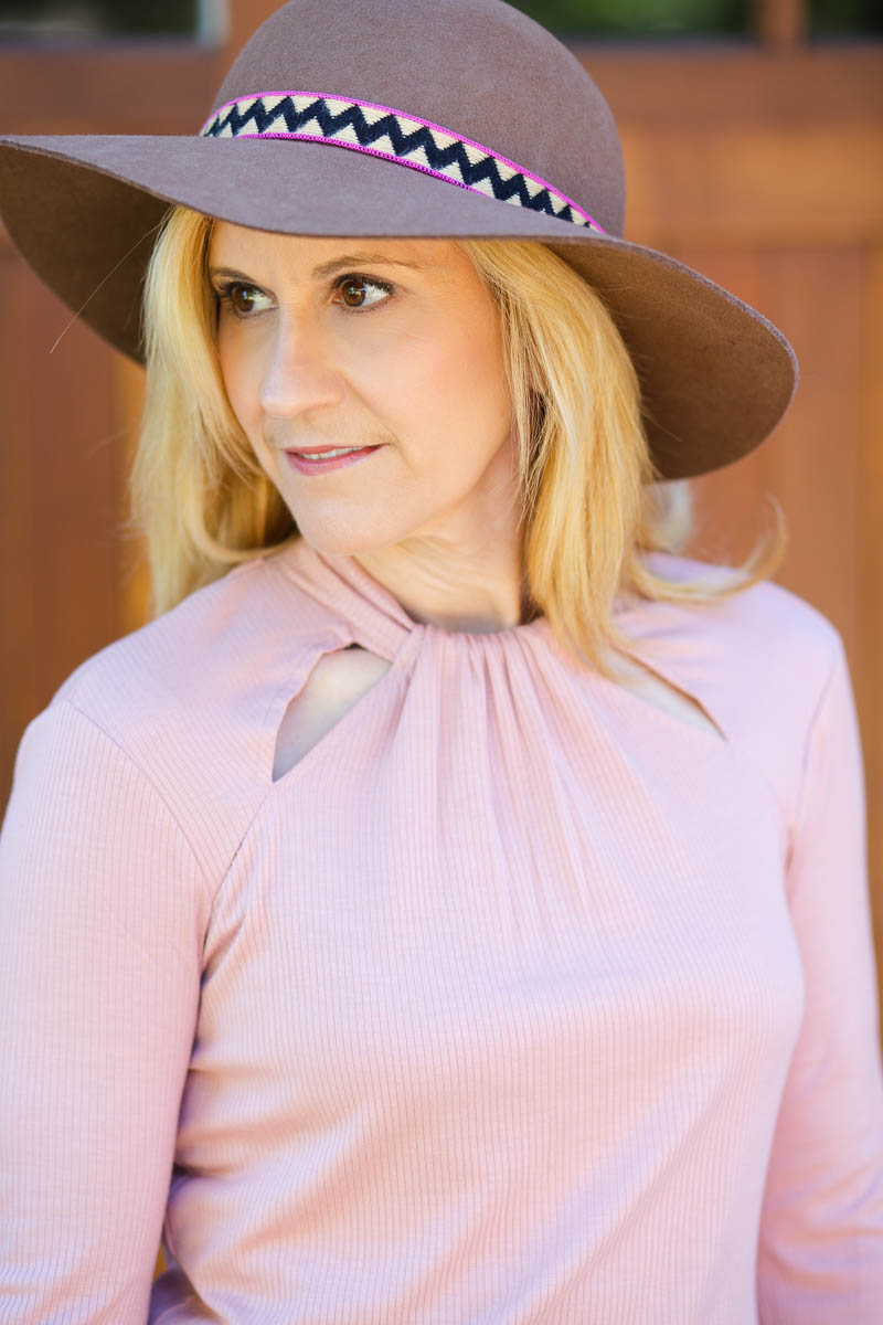 Cut Out Pink Long Sleeved top with Tan Felt Hat