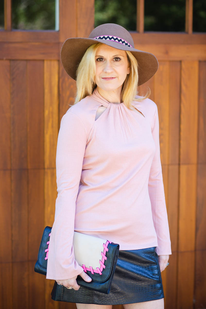1.State pink long sleeve blouse with bell sleeve