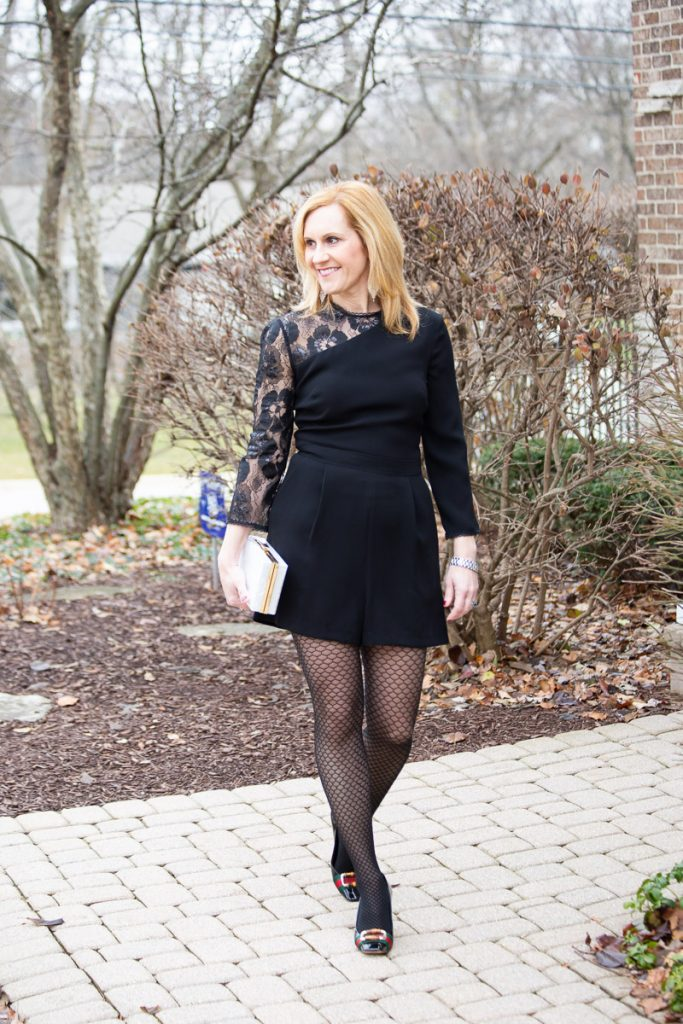 Black Lace Romper for New Year's Eve by Kathrine Eldridge, Wardrobe Stylist