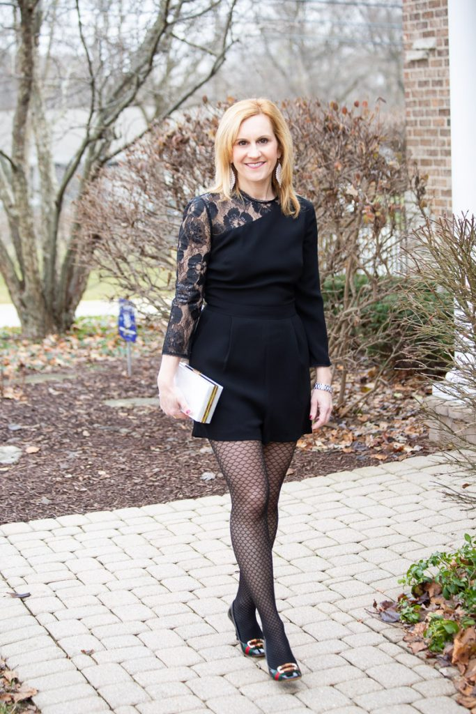 Black Lace Romper by Shoshanna from Rent the Runway