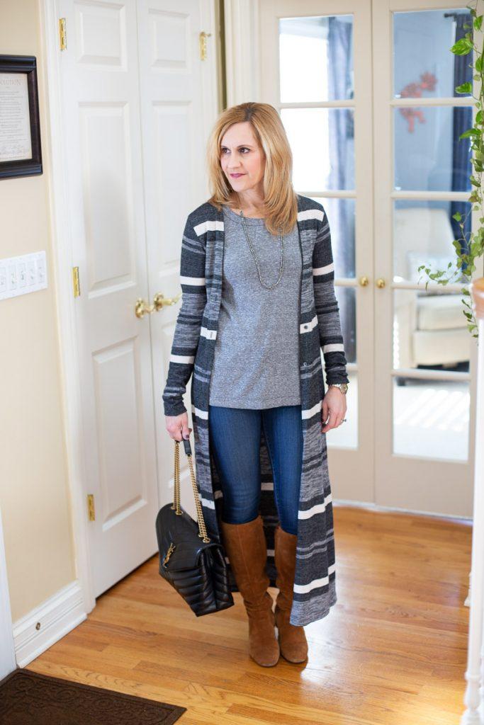 Striped Long Cardigan by Kathrine Eldridge, Wardrobe Stylist