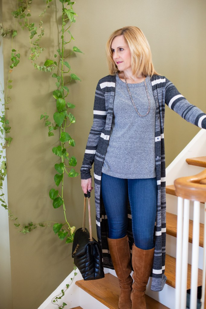 Long striped cardigan with a grey tee, and tan suede knee boots.