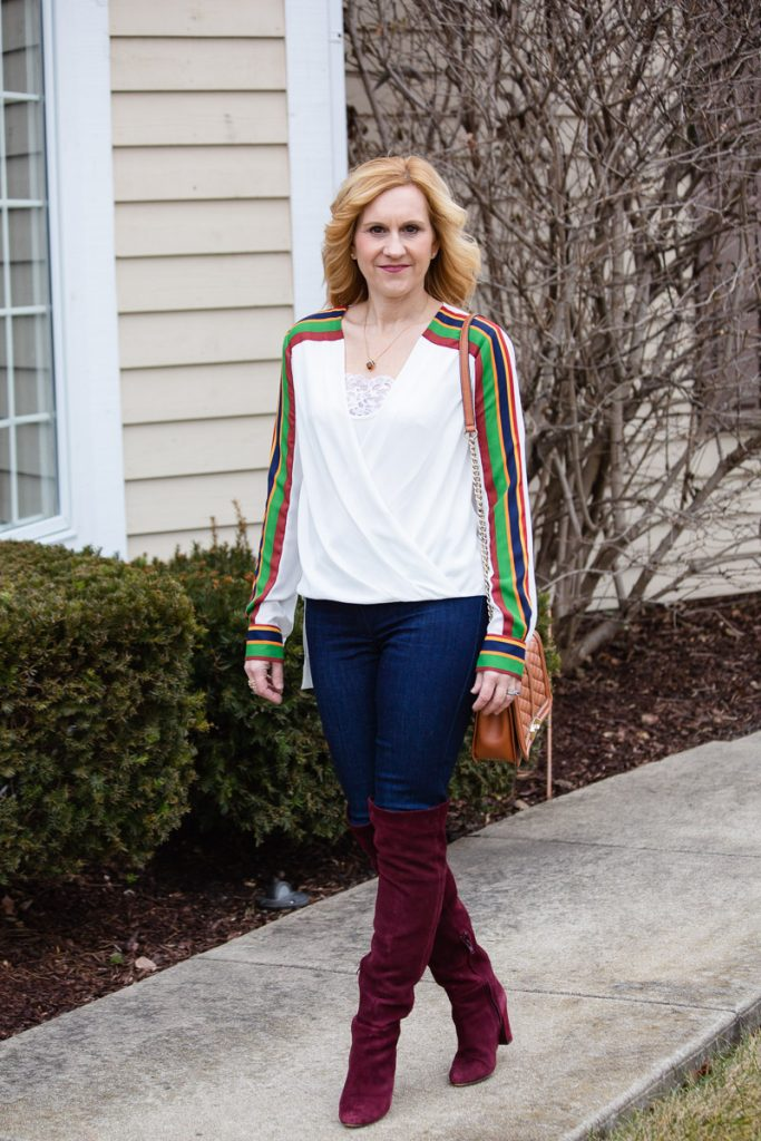 BCBG Striped High-Low Top from Armoire with Mode De Vie skinny jeans and burgundy over the knee boots