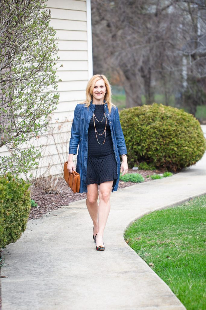Creating a spring outfit with a long denim jacket and LBD.