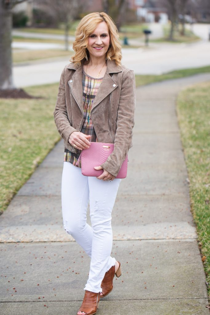 Suede Moto Jacket with White Jeans and Pink Clutch
