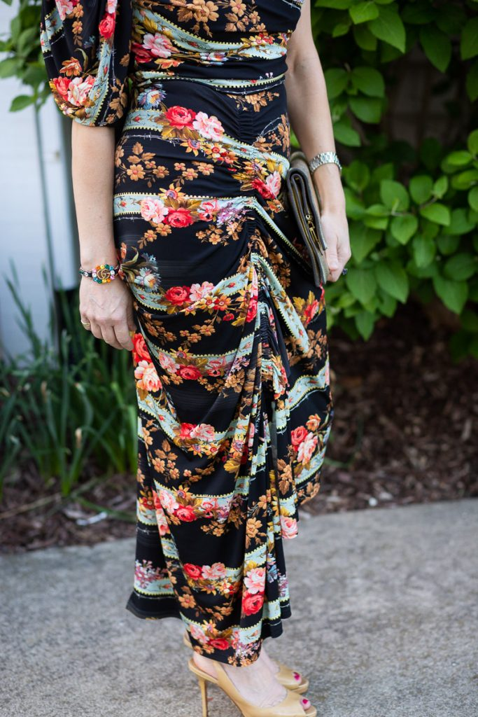 Ruched Asymmetrical Details from Preen's Kristen Floral Crepe Dress