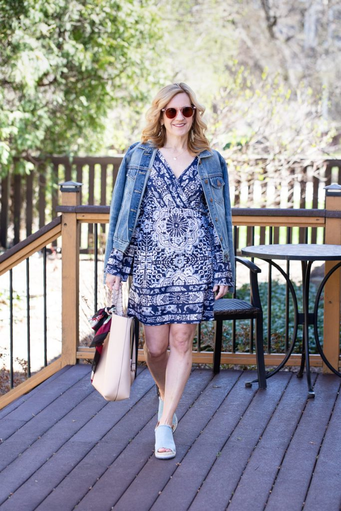Boho chic mini dress paired with a denim jacket