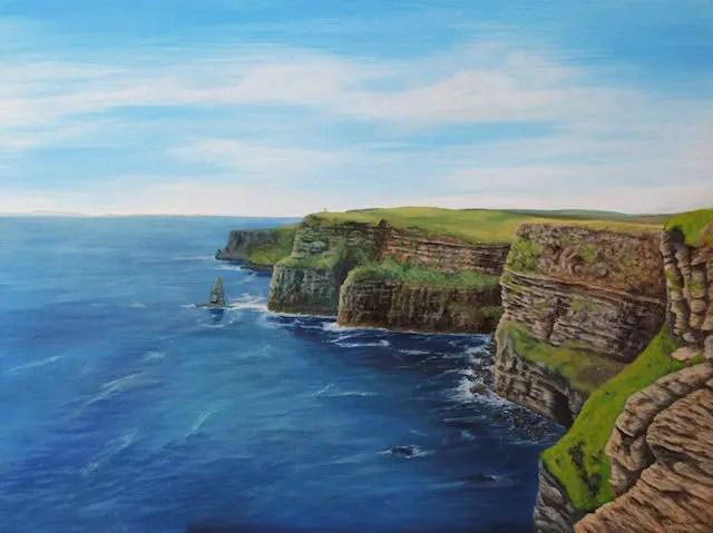 Cliffs of Moher painting by Kathrin Guenther, seascape, landscape, Ireland, art, Custom made pet portraits, equine and wildlife art by Kathrin Guenther
