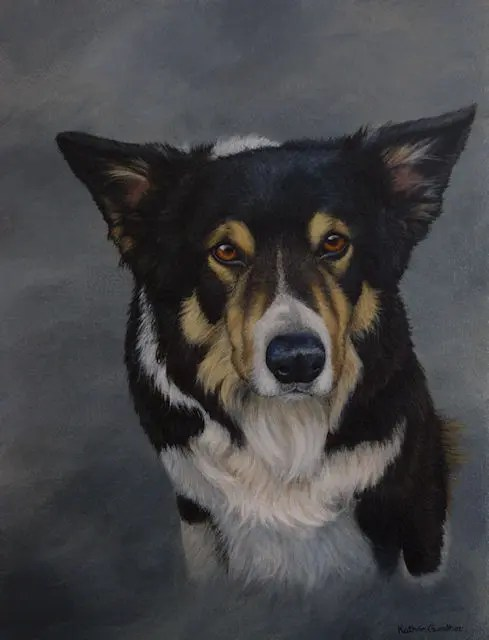 pet dog painting sheepdog Kathrin Guenther acrylic art