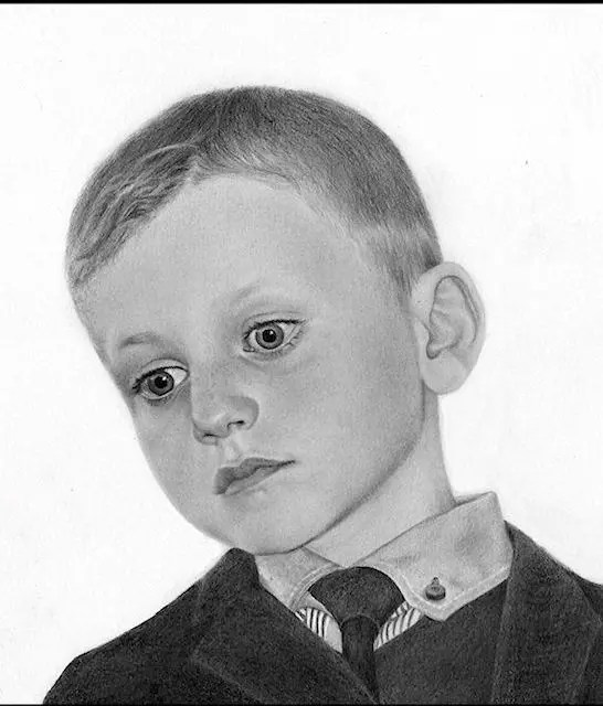 Ian, child drawing, graphite, Kathrin Guenther, web file
