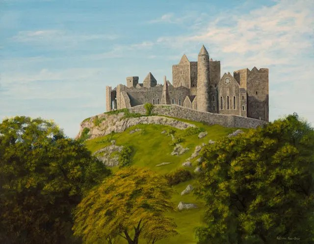landscape and seascape, rock of cashel, Kathrin Guenther, painting, acrylic