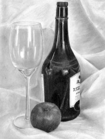 bottle and glass still life, graphite sketch, Kathrin Guenther, web file