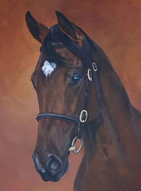 Thoroughbred painting by Kathrin Guenther,yearling, horse, equine, art, Custom made pet portraits, equine and wildlife art by Kathrin Guenther