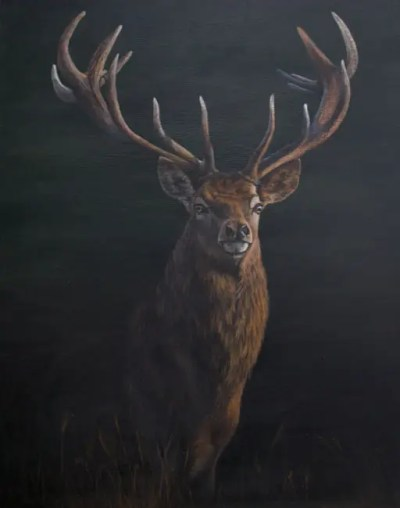 Stag painting by Kathrin Guenther