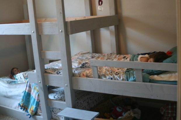 Photo of children sleeping in Triple Bunk Bed