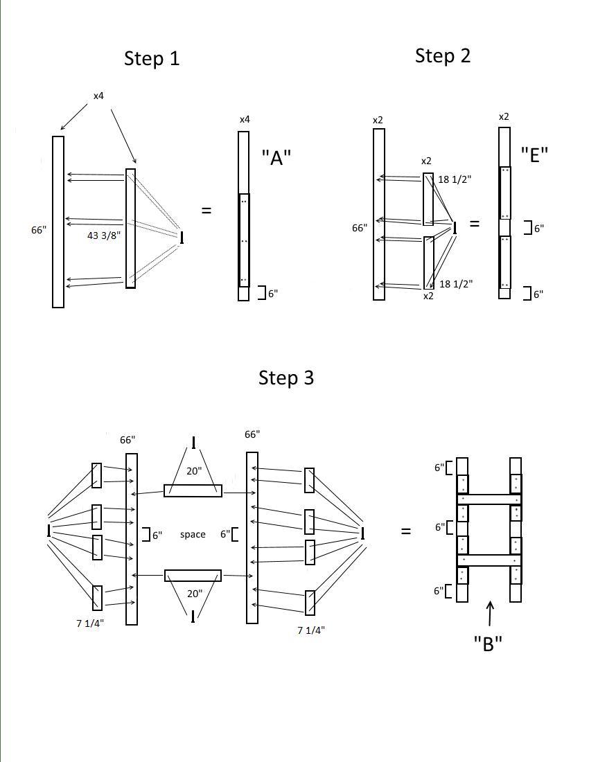 Triple bunk bed plans page 2, steps 1-3